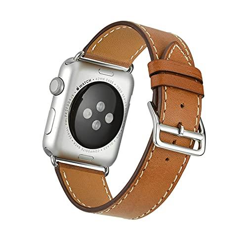 Pulsera de Reloj de Piel Becerro,Para Apple Watch Correa 38mm 40mm 42mm 44mm,Vintage Correa de Reloj,liberación rápida Correas de Reloj,para iWatch Serie 1/2/3/4/5/6/SE.,Light brown,38mm/40mm