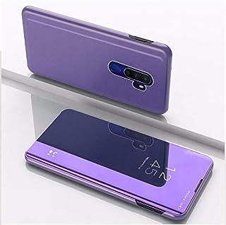 OPPO RENO ACE/REALME X2 PROメッキのミラー左右のフリップカバー、スタンド携帯電話ホルスター(シルバー) HDJ (Color : Purple Blue)