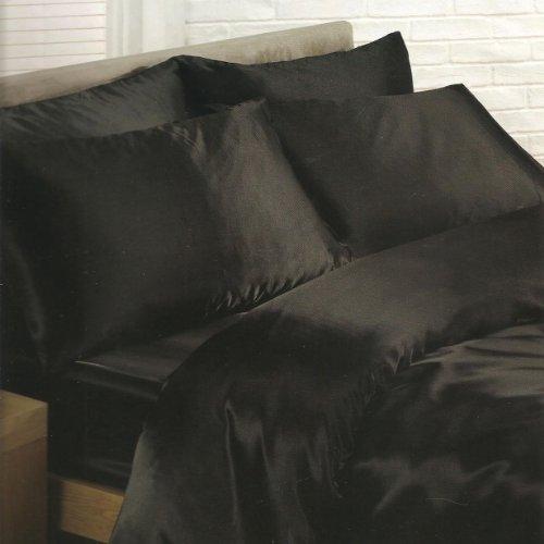 DELUXE Satin 4 teilge Schwarz Bettwäsche 135x200 + Bettlaken + 2 Kissenbezüge NEU Einzelbett