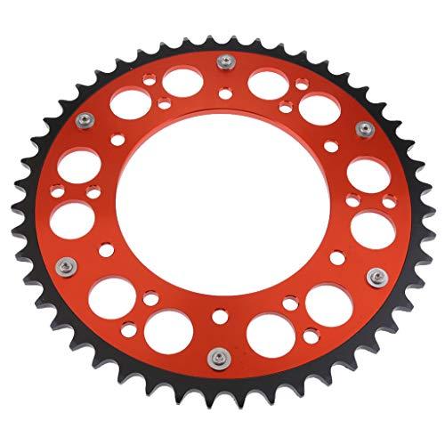 D DOLITY 1 Stück Hinteres Kettenrad + Befestigungsschrauben Hinterer Zahnkranz Stahl Kettenrad Motorrad Kettenrad Für KTM/SXS / SXF - Orange 52T