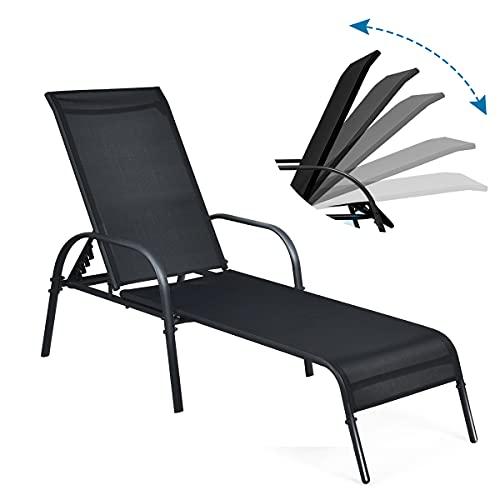 RELAX4LIFE Liegestuhl, Relaxliege mit verstellbare Rückenlehne(5-stufig) & Armlehne, Sonnenliege für Garten & Strand & Terrasse & Balkon, wetterfeste Strandliege Metallrahmen, bis 160 kg belastbar