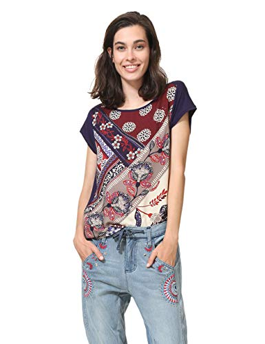 Desigual T-Shirt Short Sleeve GANGES Woman Blue, Blu (Nave 5000), S Donna
