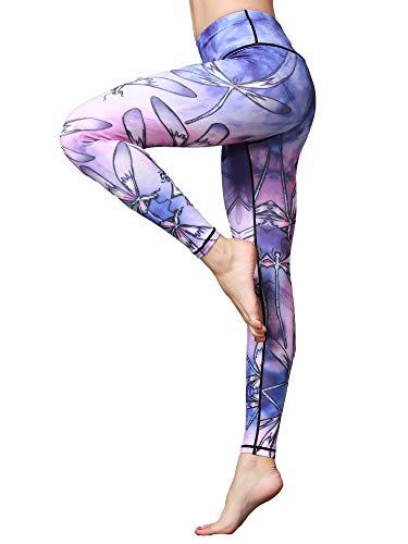 FLYILY Pantaloni da Yoga da Donna a Vita Alta Elasticizzati Leggings da Allenamento per Fitness e Corsa(2-Dragonfly,XL)