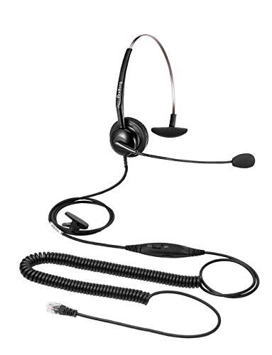 Beebang Auriculares con micrófono Mono RJ9 Auriculares con micrófono con cancelación de Ruido para Avaya Plantronics Polycom Siemens Mitel Toshiba NEC Nortel Aastra Alcatel Gigaset