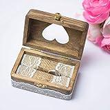 Happy Weddng Art Ringkissen Hochzeit Ring Box Ringbox Vintage Stil Holz Ring Schatulle Hochzeitsdeko Deko Holz Ring Box - 2