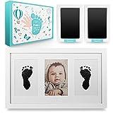 EDELHAND© Juego de huellas de manos y pies para bebé con 2 almohadillas grandes 'CleanTouch' sin contacto, impresión de tinta de mano y pie como marco de alta calidad, regalo para bebé