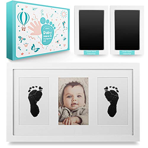 """EDELHAND© Juego de huellas de manos y pies para bebé con 2 almohadillas grandes """"CleanTouch"""" sin contacto, impresión de tinta de mano y pie como marco de alta calidad, regalo para bebé"""