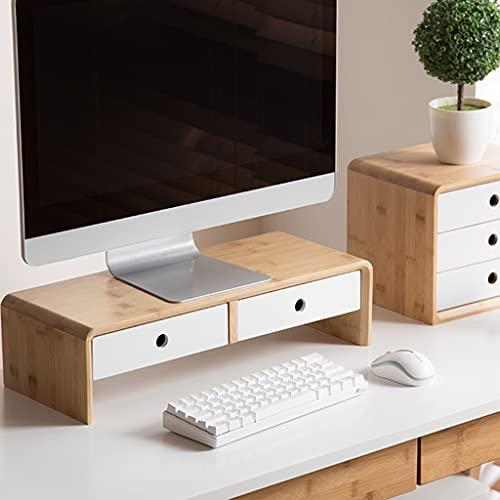 SUNDAY HOME Monitor Soport Riser con 2 cajones, Soporte de computadora portátil de Madera con Almacenamiento de Teclado, Escritorio Monitor Universal Soporte Organizadores (Size : 60cm)