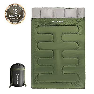 Hitorhike Double Sleeping Bag with Pillows for Camping, Hiking, Traveling, Backpacking, Queen Size XL Lightweight 2 Person Sleeping Bag for Kids, Teens, Adults, Truck, Tent or Sleeping Pad (Green)