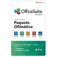 OfficeSuite Personal Compatible con Office Word Excel y PowerPoint® y PDF para PC Windows 10, 8.1, 8, 7 - licencia de 1 año, 1 usuario