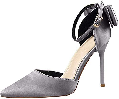 Minetom Damen High Heels Sandalen Nieten Rivets Kleid-Partei Pumps Silber 34 EU