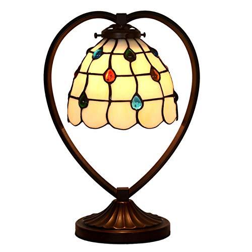 Perlgardine einfach Tiffany Tischlampe Schlafzimmer Nachttischlampen: Coffee-Shop Buntglas dekorative Lampe E27
