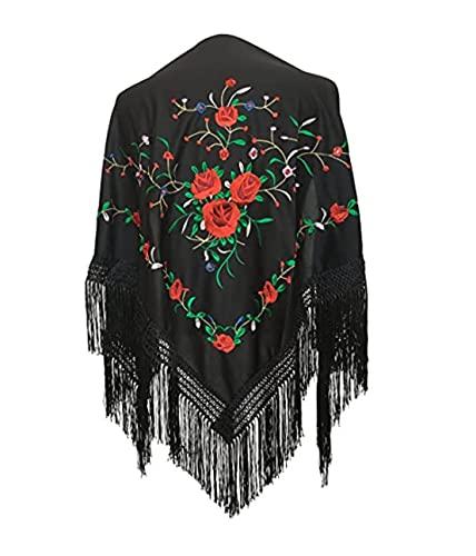 AMINA Mantón pico mediano triangular de flamenco o sevillanas (150X70cm) Negro bordado Rojo/verde