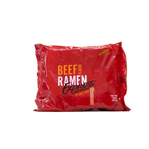 RAMEN EXPRESS Beef Flavor Ramen Noodle Packs, 3 Oz Each (Pack Of 24) by Chef Woo | Vegetarian | Kosher Beef | Halal | Egg-Free and Dairy-Free