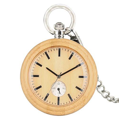 Reloj de Bolsillo de Cuarzo de Madera Completa Pantalla analógica Reloj de Bolsillo de Madera Rojo/Negro/marrón Reloj Colgante de Cadena para Hombres Mujeres Lightbrown