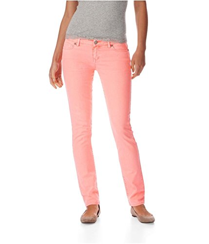 Aeropostale Womens Bayla Low Rise Signature Skinny Fit Jeans, Orange, 9/10