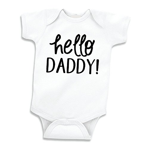 Bump and Beyond Designs Hello Daddy Surprise Pregnancy Announcement to Husband (0-3 Months, White)
