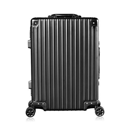 Aluminium magnesium legering Trolley Case Business Travel Boarding 20-inch koffer Retro Modellen Stille Universele Vliegtuig Wiel Mannen En Vrouwen Koel Zwart 20 Inch