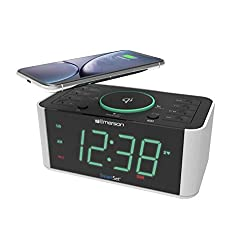 Emerson Alarm Clock Radio and QI Wireless Phone Charger with Bluetooth, Compatible with iPhone Xs Max/XR/XS/X/8/Plus, 10W Galaxy S10/Plus/S10E/S9, All Qi Compatible Phones, ER100202