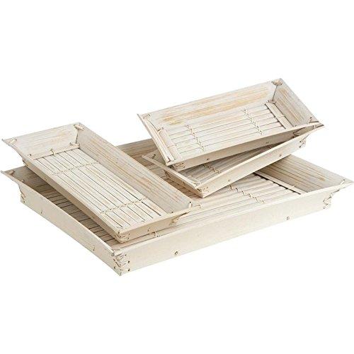 Conjunto de 4 baldas extraíbles en bambú blanqueada