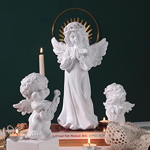 Qagazine Estatua de ángel, de resina, adornada para orar en casa, religioso, espiritual, comodidad para el hogar, sala de estar, dormitorio, coche, estante blanco