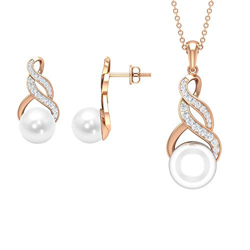 Pearl and Diamond Jewelry Set 16.43 CT, Gold Pendant Set with Earrings (8 MM, 10 MM Round Freshwater Pearl), 10K Rose Gold With Chain