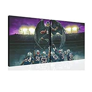 SANTA RONA Lamar Jackson Baltimore Ravens American Football Poster Painting Canvas Prints Bedroom Large Wall Art Picture (24x24inchx2,Canvas Rolls)