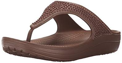crocs Women's Sloane Diamante Flip Flops