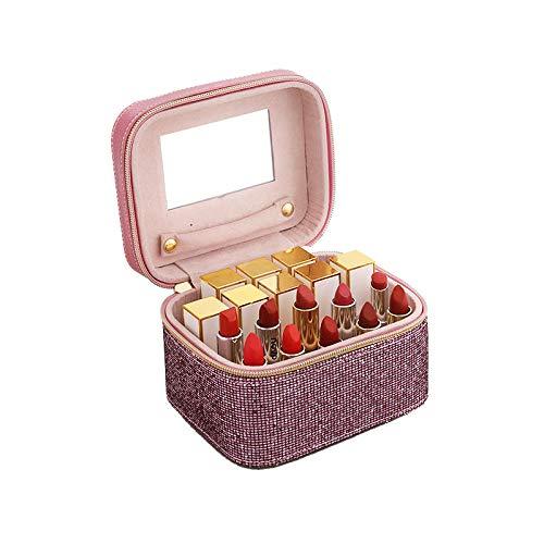 FIONAT Organisateur De Maquillage Sac Cosmétique Sac De Rangement Rouge À Lèvres Poussière Bijoux Valise Boîte De Rangement Cosmétique Portable, Rose Monocouche