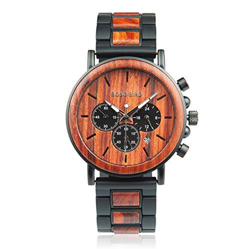 BOBO BIRD Reloj de pulsera casual para hombre, de madera y acero inoxidable con punteros luminosos, relojes analógicos clásicos con caja de regalo