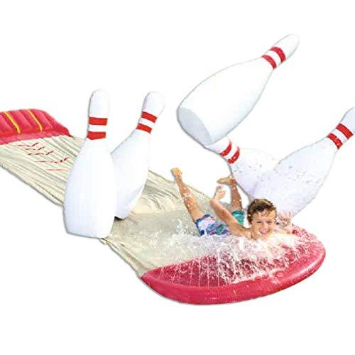 Tobogán de agua XL con agua deslizante, 549 m de largo x 138 cm de ancho con boquillas, chorros de agua y almohadilla hinchable Crashpad, Double Slide Play Center para niños, verano