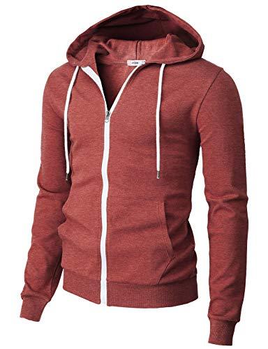 H2H Mens Casual Basic Long Sleeve Zip Up Hoodie Jacket Maroon US M/Asia L (CMOHOL048)