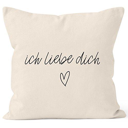 Funda de cojín MoonWorks® con mensaje en alemán 'Ich liebe dich' regaloromántico,cojín decorativo de algodón, Liebe 2 natur, 40 x 40 cm