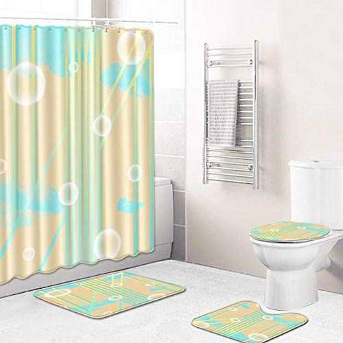 Vlejoy Cortina De Ducha De Burbuja Abstracta Alfombra De Baño En Forma De U a Prueba De Agua Alfombrilla Antideslizante para Baño 4 Piezas