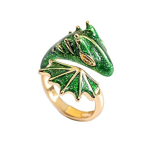 minjiSF Anillo de dragón esmaltado de color para hombres y mujeres, abierto, ajustable, joya personalizada, regalo único, para parejas, amistad, nudillos, anillos de dedo (verde)