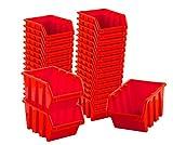 BigDean Sichtlagerboxen Set 33 Stück Rot Größe 2 15,5x10x7 cm - nestbar & stapelbar -...