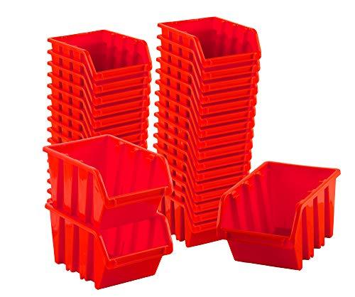 BigDean Sichtlagerboxen Set 36 Stück Rot Größe 1 11,5x8x6 cm - nestbar & stapelbar - Ordnungssystem für Werkstatt, Keller & Garage