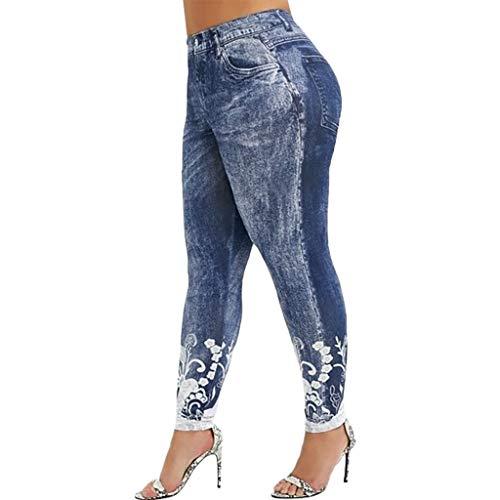 Lulupi Leggings Donna Fitness Vita Alta Pantaloni Donna Taglie Forti Leggings con 3D Stampa sulla Caviglia Slim Fit Sport Yoga