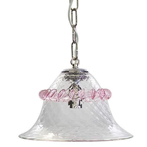 Lampadaire a suspension 1 lumière en verre de Murano transparent avec détail Rose