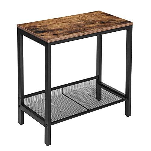 HOOBRO Beistelltisch, Klein Sofatisch, Schmal Nachttisch mit verstellbare Ablage, Couchtisch für kleine Räume, Konsolentisch, platzsparend, einfach zu montieren, stabil, Dunkelbraun EBF22BZ01