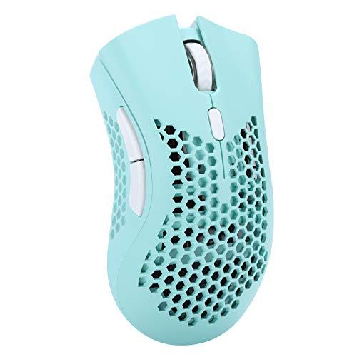 Drahtlose Gaming-Maus, wiederaufladbares ergonomisches USB-optisches Spiel E-Sport-Mäuse mit 5 RGB Buntem Licht, 1600 DPI, 7 Tasten und eingebautem 800-mAh-Lithium-Akku für Notebooks(Grün)