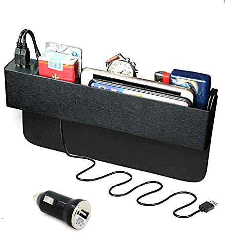 Baobë Seitliche Organizer-Box für Autositze,Aufbewahrungsbox Für Auto, Füller für Autolücken,Organizer für Autotaschen und 2 USB-Ladestationen für Mobiltelefone
