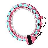 Viccilley 24 Nodi Hula Hoops con Rotazione Automatica 360 ° Peso Regolabile, Hula Ring Hoop ponderato Intelligente per Adulti Esercizio e Fitness Perdita di Peso(Rosa Chiaro)