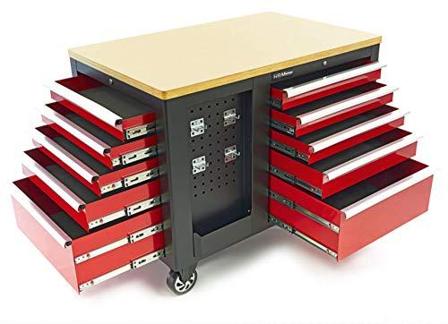 HBM fahrbare Werkbank mit Schubladen, 10 Schubladen, 1 Flügeltür und kleine Lochwand. Profi Werkbank - Profi Werkstattausrüstung by Tools.de