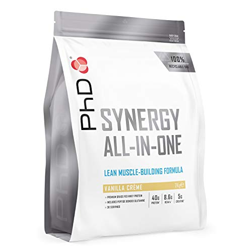 PhD Nutrition Synergy ISO-7, all-in-one premium whey protein powder, high 40g protein complex, Vanilla creme as a pre / post workout drink 2 kg, Packaging may vary