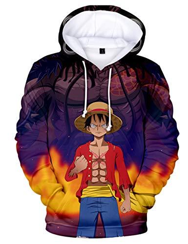 Moletom masculino com capuz 3D para meninos e meninos Luffy Zoro Sanji Ace fantasia de cosplay moletom fashion pulôver moletom, H, S