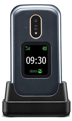 Doro 7080 Teléfono Móvil 4G Dual SIM con Tapa para Mayores con WhatsApp para Videollamadas, Facebook, Botón de Asistencia con GPS y Base de Carga (Gris) [Versión Española y Portuguesa]