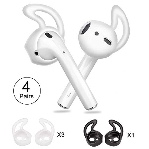 Ear Hooks for Airpods, Norhu Earphone Cover Compatible with Apple AirPods and EarPods - 3 Pairs White+1 Pair Black
