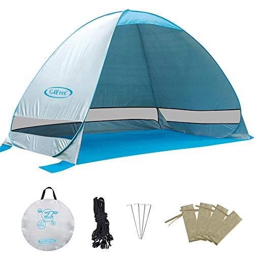 G4Free Aktualisierte Pop-Up-Zelt 2-3 Person UPF 50+ UV-Schutz Sonnenschutz Obdach Camping Wandern Fischen Picknick Strand Sommer Automatische Zelt Cabana