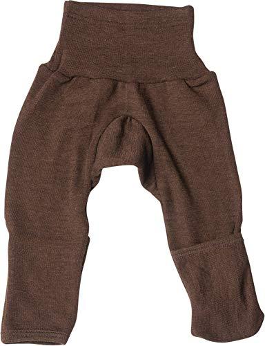 Cosilana Baby Hose lang mit Bund und Kratzschutz zum umklappen aus 70% Wolle und 30% Seide kbT (74/80, Braun)